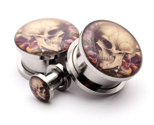 316L Stainless Steel Vintage Skull Style 6 Picture Plugs