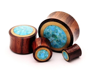 Sono Wood With Crushed Turquoise Plugs