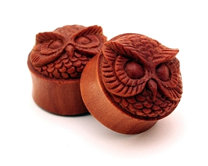 Saba Wood Owl Face Plugs