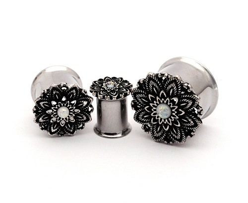 316L Steel Double Flare Plugs with Lotus Top and Faux Opal
