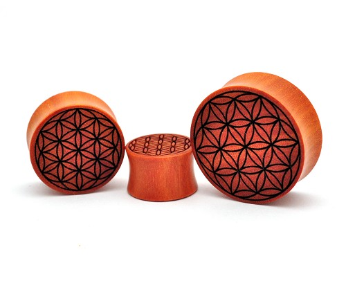 Laser Engraved Flower of Life Saba Wood Plugs