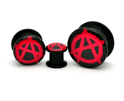 Black Acrylic Anarchy Picture Plugs