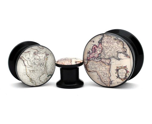 Black Acrylic Antique Map Style 2 Picture Plugs