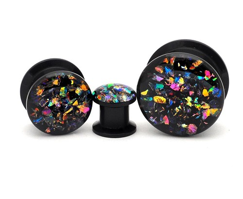Black Acrylic Embedded Dichroic Glass Plugs