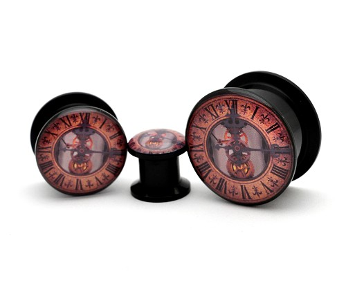 Black Acrylic Steampunk Clock Style 2 Picture Plugs