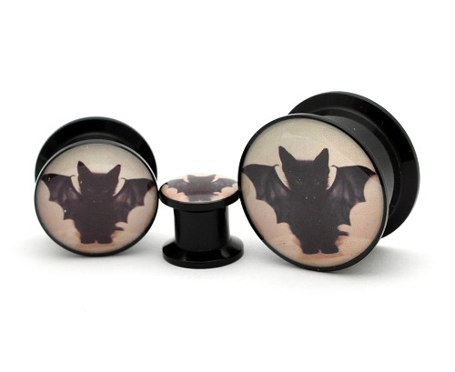 Black Acrylic Vampire Cat Picture Plugs