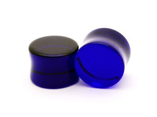 Blue Double Flare Glass Plugs