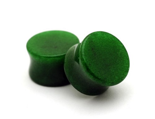 Dark Green Jade Double Flare Plugs (Sold in pairs)