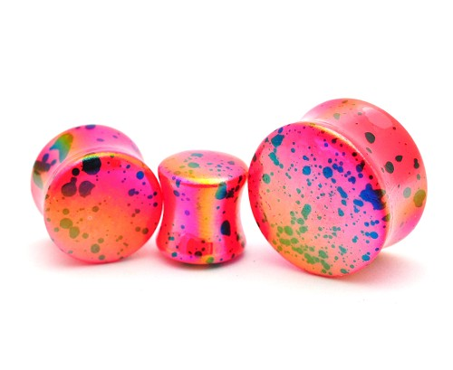 Acrylic Pink Opalescent Splatter Double Flared Plugs