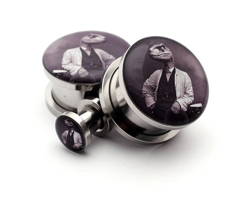 316L Stainless Steel Dapper Raptor Picture Plugs