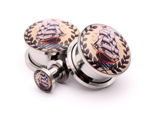 316L Stainless Steel Pirate Ship Picture Plugs