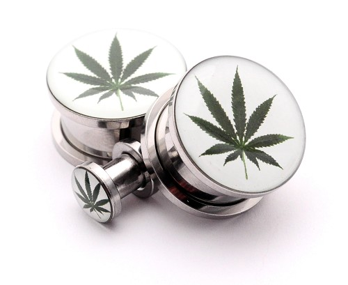 316L Stainless Steel Pot Leaf Picture Plugs