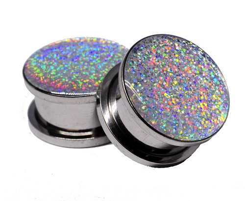 Embedded Silver Holographic Glitter Plugs