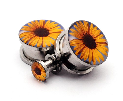 316L Stainless Steel Sunflower Picture Plugs
