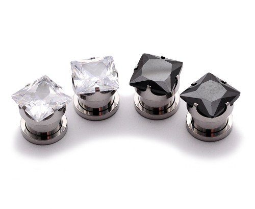 316L Steel Screw on Plug with Prong set SQUARE CZ