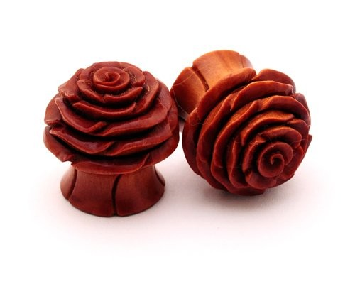 Saba Wood Rose Plugs