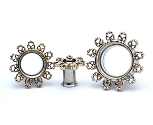 316L Steel Double Flare Tunnels with Filigree Rim