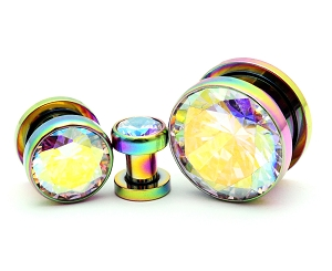 316L Rainbow Steel Screw on with Multicolored Press Fit CZ