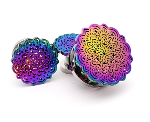 316L Steel Screw on Plugs with Rainbow Flower Top