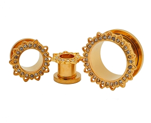 316L Gold Steel Screw on Tunnels With Lotus Flower Rim