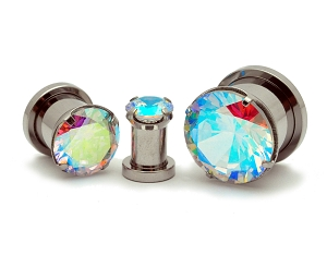 316L Steel Screw on with Prong Set Multicolored CZ