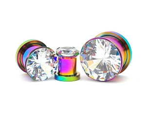 316L Rainbow Steel Screw on with Prong Set Clear CZ