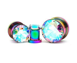 316L Rainbow Steel Screw on with Prong Set Multicolored CZ
