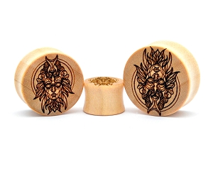 Laser Engraved Angel/Demon Crocodile Wood Plugs