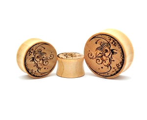 Laser Engraved Half Moon Crocodile Wood Plugs