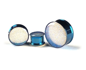 Embedded Pearl Blue Glitter Plugs