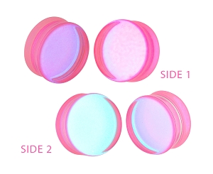Pink/Aqua Iridescent Double Sided Glass Plugs