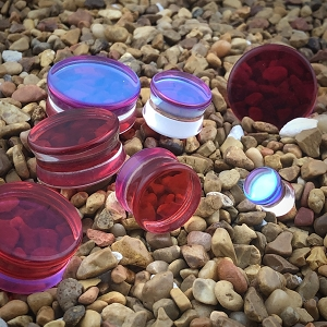 Red/Aqua Iridescent Double Sided Glass Plugs