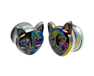 Glass Plugs with Multicolor Iridescent Cat