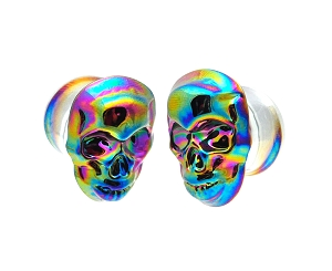 Glass Plugs with Multicolor Iridescent Skull