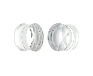 Clear Faceted Double Flare Glass Plugs
