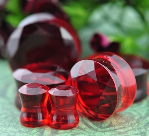 Ruby Red Faceted Glass Double Flare Plugs