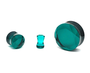 Dark Seafoam Green Faceted Glass Double Flare Plugs