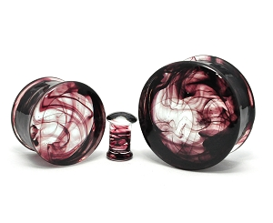 Smokey Swirl Glass Double Flare Plugs