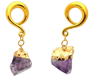 316L Surgical Stainless Steel Hangers with Amethyst