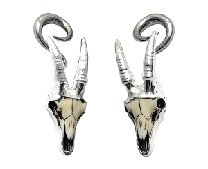 316L Surgical Stainless Steel Hangers with Goat Skull
