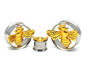 316L Stainless Steel Tunnels with Gold Steel Bee