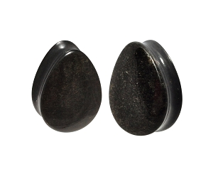 Golden Obsidian Teardrops Convex