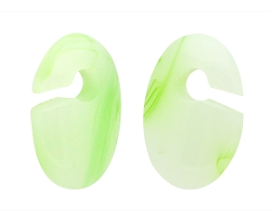 Green Line Agate Stone Oval Ear Weights