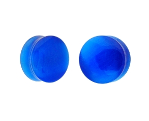 Blue Cat Eye Stone Double Flare Plugs