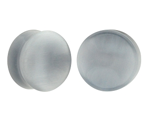 Grey Cat Eye Stone Concave Double Flare Plugs
