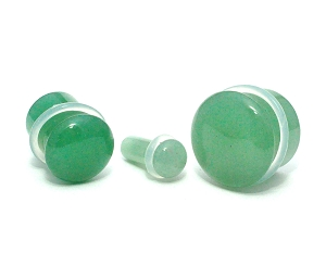 Green Aventurine Single Flare Plugs with Clear O-ring