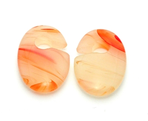 Red Line Agate Stone Oval Ear Weight