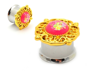 316L Steel Double Flare Tunnels with Gold Plated Tribal Top and Pink Imitation Opal