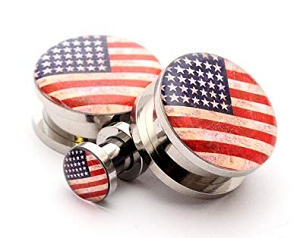 316L Stainless Steel American Flag Picture Plugs