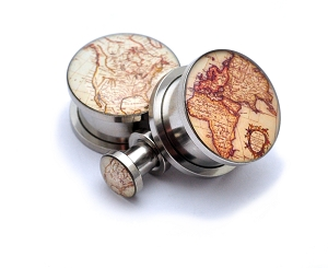 316L Stainless Steel Antique Map Style 2 Picture Plugs